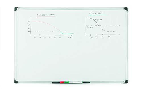 Bi-Office Maya W - Pizarra blanca magnética marco