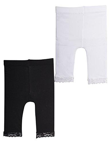 | 2 PAAR MIKROFASER BABY LEGGINS MIT SPITZE | 12/18/ 24 Monate | 50 DEN | SCHWARZ, WEISS | ITALIAN HOSIERY | (12 Monate, 1 schwarze/ 1 weisse) (Baby-mädchen-leggings Schwarz)