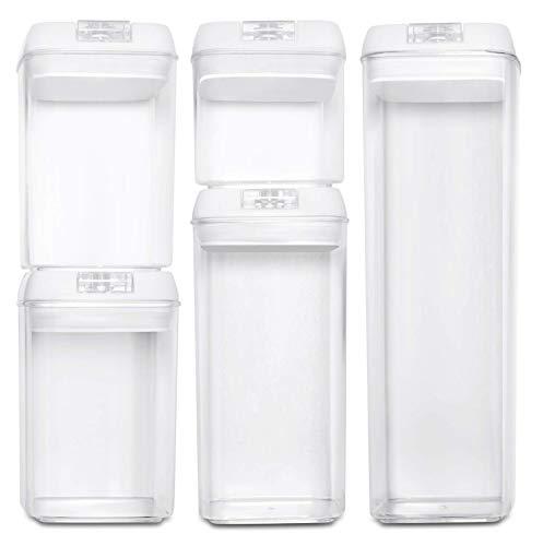 BASIL | Vakuum Vorratsdosen & Frischhaltedosen | 5er-Set | BPA frei & spülmaschinengeeignet | luftdicht & wasserdicht | Aufbewahrungsdose & Vorratsbehälter mit selbstklebendem Beschriftungsetikett