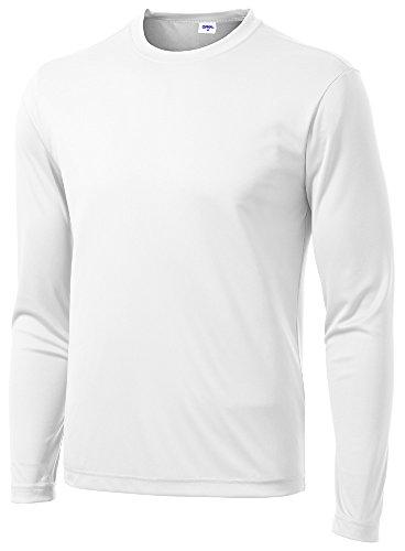 LangÄrmeliges T-shirt Kleid (Opna Herren Sport-Shirt, langärmelig, feuchtigkeitsableitend - Weiß - Groß)