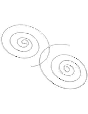 2LIVEfor Ohrringe Creolen Silber Gold Groß 50 mm Ohrhänger Design Spirale Schnecke Hoop Creole Rund Ethno Style