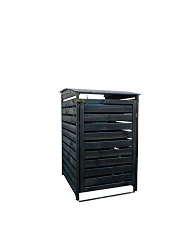 Mülltonnenbox schwarz 1 Tonne FSC Holz Verkleidung Mülltonnenverkleidung B-WARE - 2