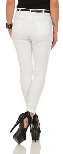 Damen Jeanshose Skinny Röhre inkl. Gürtel 571 Weiß