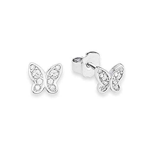 s.Oliver 567640 Teenage Girls' Butterflies Pierced Earrings in Rhodium-Plated 925 Silver, White