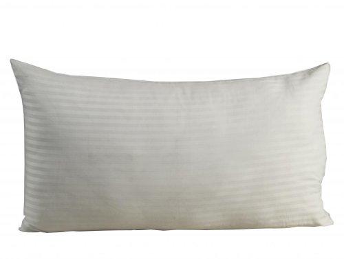 Homescapes Damast Kopfkissenbezug extra groß 90 x 50 cm weiss 100% ägyptische Baumwolle, Kissenbezug mit Fadendichte 330 -
