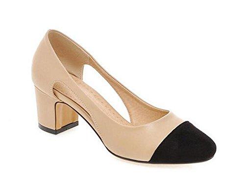 punta quadrata decolleté tempo libero con le scarpe cave laterali del tallone ruvido apricot