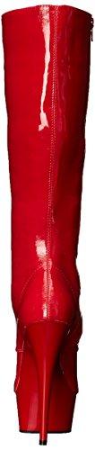 Pleaser Delight-2023, Bottes femme Rouge  (Red Str Pat/Red)