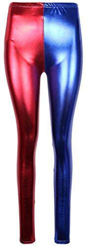Fast Fashion - Harley Quinn Suicide La Brigade Multicolore Hot Sexy Shorts – Femmes Rouge/Bleu Guêtres