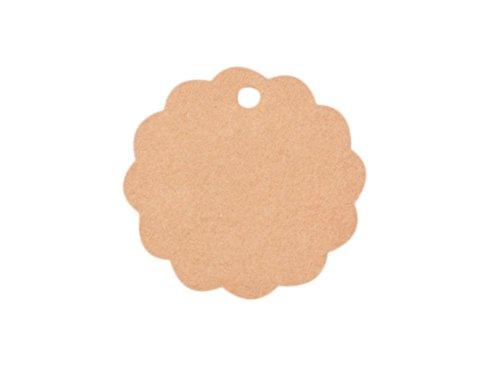 ebohrter Rund Anhänger aus Kraftpapier Leer Etiketten mit Spitze Deco für Cupcake/Geschenkumbauten/Kuchendeckel 6 * 6.0CM, DIY Etiketten Serie (Braun Rund) ()