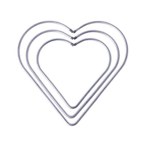 Vosarea 3 Stück Ringe Herzen aus Metall Makramee Ringe für Traumfänger Basteln Handwerk Silber (8 cm + 10 cm + 12 cm) -