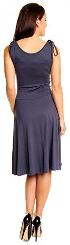 Zeta Ville - Robe de fête en jersey - sans manches décolleté en V - Femme - 142z Bleu Gris