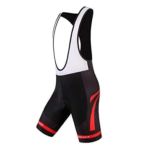 WOSAWE Herren 4D Gel gepolsterte Radfahren bib Shorts atmungsaktiv Quick Dry leicht schwarz, Herren, Red Bottom, X-Large - Gel-bib