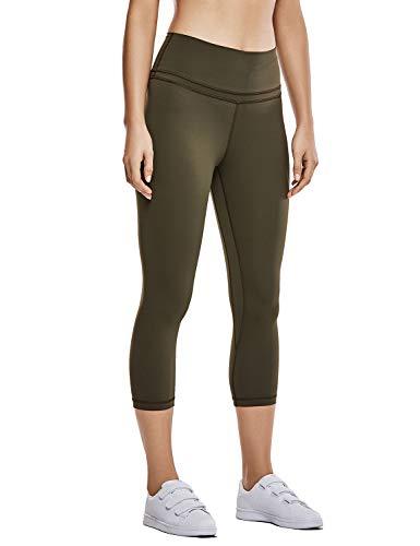 CRZ YOGA Mujer Naked Feeling Leggings Deportivas Cintura Alta Yoga Fitness Pantalones con Bolsillo -48cm Dark Olive R418 S(40)