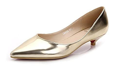 Katypeny Women's Slip On Pointed Toe Low Kitten Mid Low Heel Work Pumps Court Shoes Gold Patent Leather EU Size