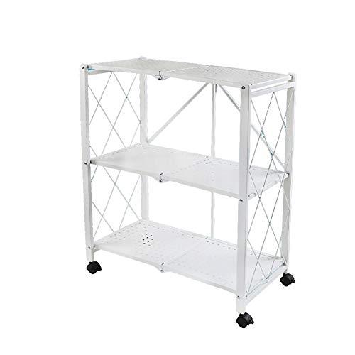 Faltbarer Küchenwagen aus Mesh, 3-stufiger Rollwagen mit Universalrad, Keine Installation erforderlich (Farbe : Weiß)
