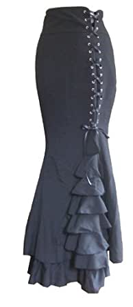 Black - Long Length Gothic Vintage Ruffle Corset Fishtail Skirt LARP Victorian Fantasy Size 8