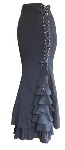 Lungo nero gotico Vintage Ruffle gonna fishtail corsetto vittoriano Steampunk