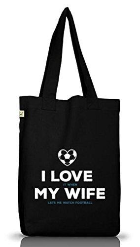 Geschenkidee Jutebeutel Stoffbeutel Earth Positive mit Football I Love My Wife Motiv Black