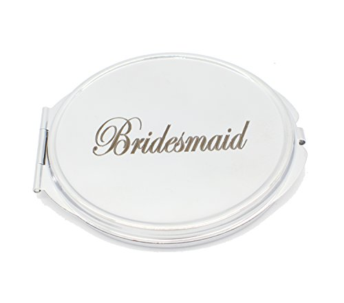 personalisierbar silber rund Kreis Form Compact Spiegel für Hochzeit, Brautjungfern für jeder Name und Nachricht Gravur