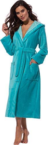 Morgenstern Bademantel Damen mit Kapuze in Türkis Saunabademantel Hausmantel wadenlang Frauenduschmantel einfarbig grün weich warm gr Größe S