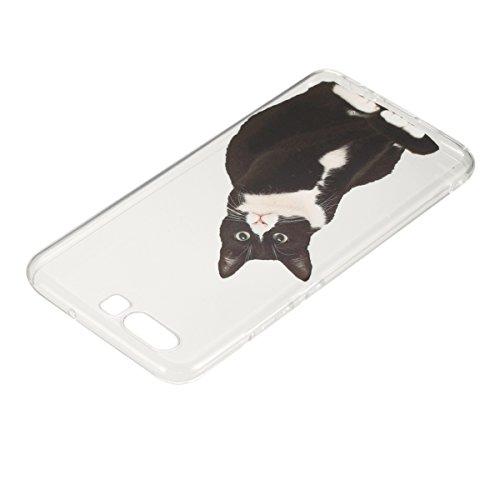 Coque Huawei P10 Plus,Coque en Soft Silicone TPU Transparente pour Huawei P10 Plus,Ekakashop Ultra Slim-fit Jolie Dolphins Jouer Dessin Antidérapant Coque de Protection TPU Flexible Souple Case Crysta Chat Noir