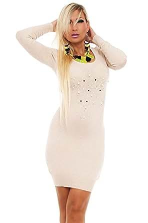 10135 Fashion4Young Damen Strick Minikleid LongPullover Pullover Pulli Kleid in 8 Farben Gr. 36/38 (36/38, Creme)