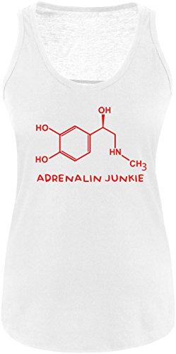 EZYshirt® Adrenalin Junkie Damen Tanktop Weiß/Rot
