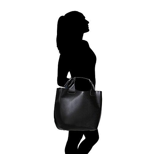 Borsa a Mano da Donna con Tracolla in Vera Pelle Made in Italy e Sacca Estraibile Interna in Cotone Chicca Borse 44x30x13 Cm Nero