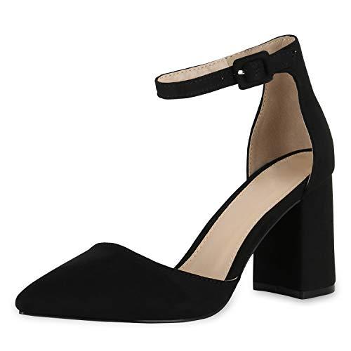 SCARPE VITA Damen Spitze Pumps Chunky High Heels Blockabsatz Party Schuhe 174789 Schwarz 37
