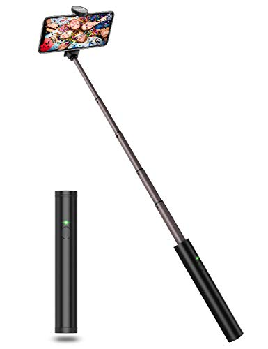 JTWEB Selfiestick Bluetooth Ultraleicht Aluminium Design Kabellos Premium Selfie Stick für iPhone Xs / XS / XR / X / 8 / 8P / 7 / 7P / 6s / 6 / 5, Android Samsung Galaxy S9 /8/7/6/ Note, Huawei, Mehr