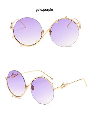 Aprigy Cool Fashion Steampunk Pinhole-Sonnenbrille-M?nner Promi Sonnenbrillen Gold Silber Hallow Hip Hop Brille Augenschutz oculos [Gold Lila]