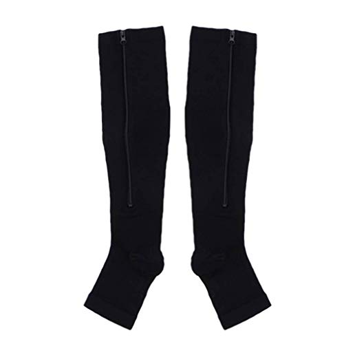 Bobury Nylon-Reißverschluss Compression Sock Bein Kniestütze öffnen Toe Verhindern Varizen Stretch-Socken