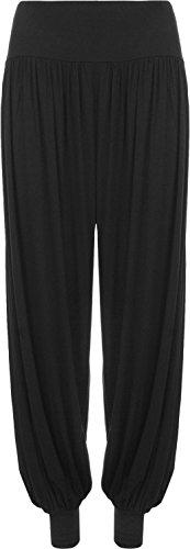 Pantaloni da donna stile Ali Baba da harem larghi sulle gambe, pantaloni taglia S/M–M/L Black