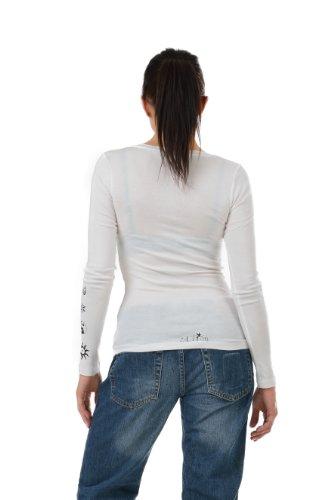 Haut à manches longues / tee shirt manches longues / Chemise imprime Cosma élément de 3Elfen - Ladies Fashion blanc noir