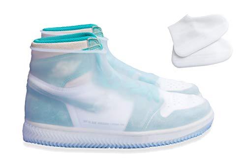 Copriscarpe in silicone, impermeabile scarpe copertura riutilizzabile stivali di copriscarpe antiscivolo pioggia stivali scarpe pioggia scarpeper uomini donne bambini (m (per le donne), bianca)