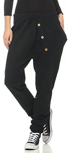 Malito Damen Jogginghose mit Knopfleiste | Sporthose in Unifarben | Baggy zum Tanzen | Sweatpants - Trainingshose 3302 (schwarz)