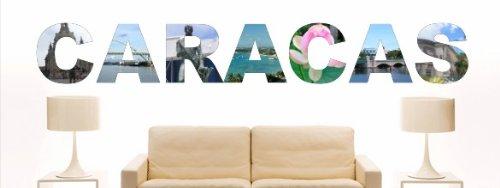 INDIGOS UG - Wandtattoo Wandsticker Wandaufkleber Aufkleber - W1196 Mehrfarbige Wandschrift mit Sehenswürdigkeiten und Stadtnamen Stadt Caracas 80x11 -