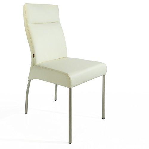 Weiches Italienisches Rindsleder (Lederstuhl Stuhl Gatto Rindsleder | Besucherstuhl Leder Stuhl Stühle Weiss Eierschale)