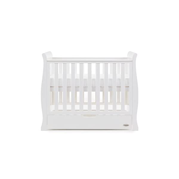Obaby Stamford Sleigh Space Saver Cot - White Obaby Adjustable, 3 position base height Discreet under drawer included for extra storage Teething rails ensure delicate teeth are protected 2