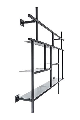 MONOISTA Regal KOBO | Bücherregal mit 5 Fächern | Designregal aus schwarzem Stahl | Modernes Metallregal für Wohnzimmer, Esszimmer oder Schlafzimmer
