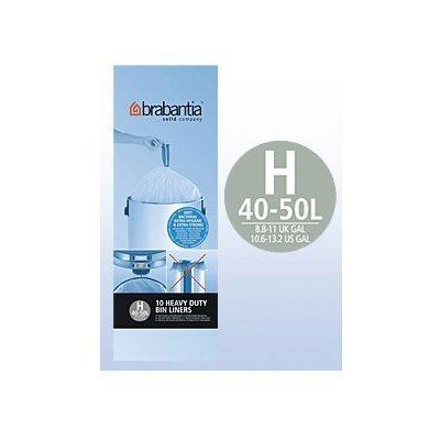 Brabantia Mülleimer, H 40-50l-10Staubsaugerbeutel weiß 246784-Lot de 6 Brabantia 50 L Bin Liner