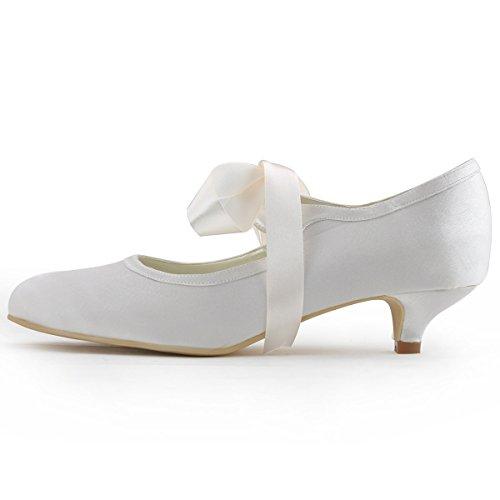 Elegantpark EP41017 Raso Punta Rotonda Nastro Tacco Medio scarpe a Tacco da sposa Ballo Avorio