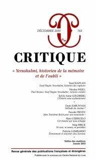 Critique, N 763, Dcembre 201 : Yerushalmi, historien de la mmoire et de l'oubli