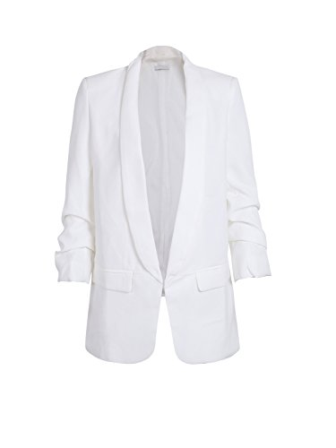 Simplee Apparel Damen Lang Blazer Elegant Langarm Revers Blazer Büro Jacke Suit Cardigan mit Rüschenhülse Weiß (Suit Jacke Casual)