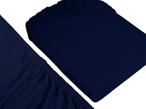 npluseins klassisches Jersey Spannbetttuch - erhältlich in 34 modernen Farben und 6 verschiedenen Größen - 100% Baumwolle, 70 x 140 cm, navyblau - 3