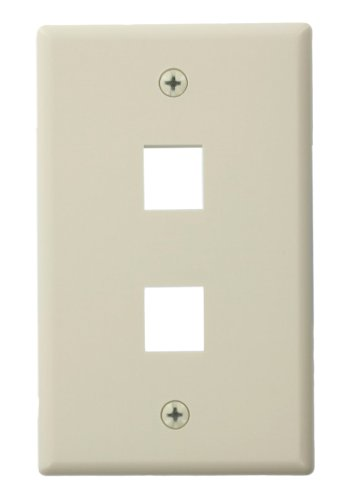 Leviton 41080-2TL QuickPort Wallplate For Large Connectors, Single Gang, 2-Port, Light Almond by Leviton Leviton Quickport Single