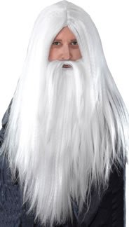 Zauberer-Perücke und langer Bart, weiß (Weiße Perücke Und Bart)
