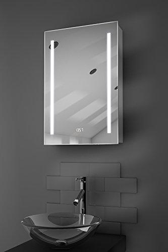 Calais LED-Badezimmerschrank mit Uhr, Spiegelheizung, Sensor & Rasierer k384 - 2