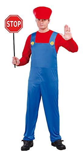 Herren Rot Blau Mario Motor Fahrer 80er 90er Jahre Retro Gamer TV Buch Film Karneval Hirsch Do Kostüm Outfit (Kostüme-film Jahre 80er)