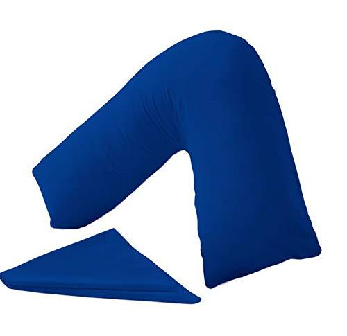 QM-Bedding® - Almohada ortopédica en Forma de V para Espalda o Almohada a Juego Azul Real, Funda...